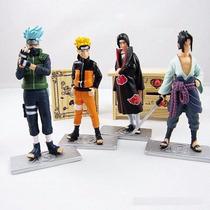 Kit Com 4 Bonecos Action Figure Naruto Sasuke Itachi Kakashi
