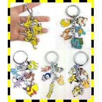 Chaveiro Pokémon De Metal 5 Pendentes Pikachu Eevee Squirtle