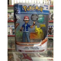 Boneco Pokémon Ash+pikachu E Mochila Coleção Marca Tomy