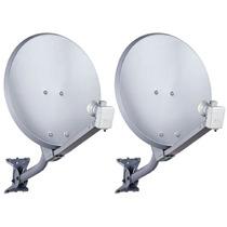 Kit 02 Antenas Ku Offset+lnbf Simples Hd+cabo+parafusação