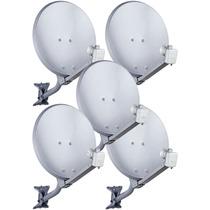 Kit 05 Antena Banda Ku 60 Cm Completa Com Lnbf Duplo Hd !