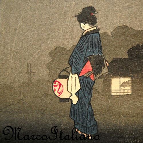 Antigo Ukio-e - Xilogravura Japonesa De Utagawa Hiroshige