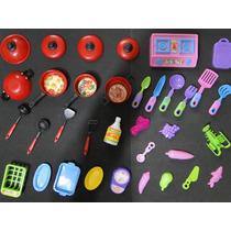 34 Acessorios Casa Boneca Panela Fogão Miniatura