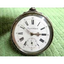 Relógio De Bolso Antigo Gurzélem Todo Em Prata Trabalhada