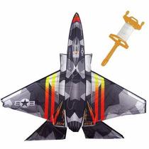 Pipa Raia Grande Nylon Avião Caça 3d Carretel Papagaio