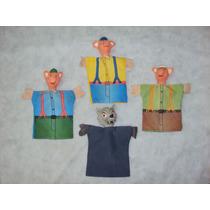 Brinquedo Antigo, Raros Fantoches Os 3 Porquinhos E O Lobo.