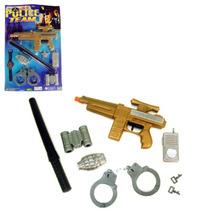 Kit Policial Com 8 Peças Brinquedo Infantil Frete Grátis