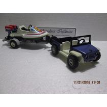 Jeep Com Lancha Playmobil Usado Colecionável