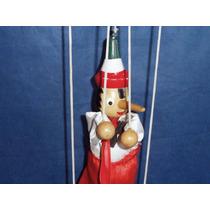 Boneco Antigo Pinóquio Marionete Madeira Usado 35cm Altura