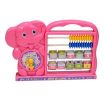 Ábaco Educativo Para Crianças Elefante Rosa