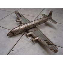Antigo Avião De Chapa Prensada Dc 6 Marca Marx Usa - Lata