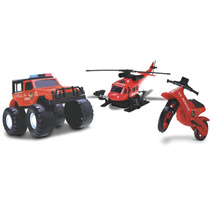 Conjunto De Jipe, Moto E Helicóptero (rescue Force)