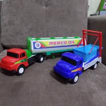 Caminhão Brinquedo Tanque + Caçamba Entulho Lixo Mercedes
