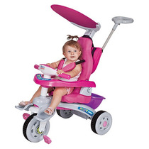 Triciclo Fit Trike Super Rosa Estofado Som E Luz Magic Toys