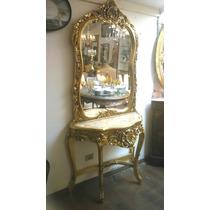 Aparador C/ Espelho Todo Entalhado Folheado À Ouro Impecavel