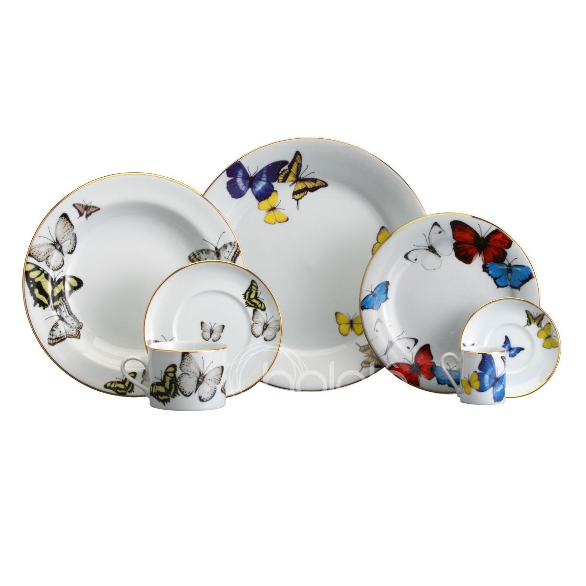 Aparelho De Jantar Borboletas Schmidt Porcelana 42 Peças R$ 1.599  #71281E 1200x1200