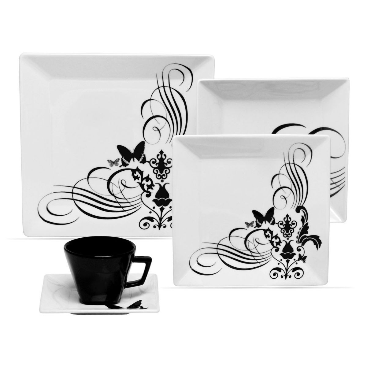 Aparelho De Jantar Em Porcelana 30 Peças Oxford Tatoo R$ 535 00  #666666 1200x1200