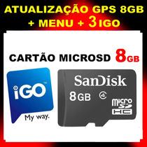 Igo Gps Atualização Cartão Memória 8gb Avisa Radares E 3d