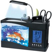 Aquario Usb Com Bomba De Agua Iluminação E Porta Canetas