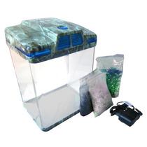 Mini Aquario Em Acrilico Iluminacao Bomba Led Sensor Peixe