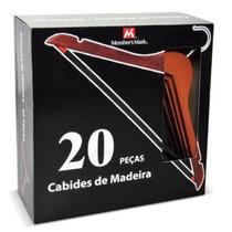 Kit Com 100 Cabides De Madeira Cerejeira