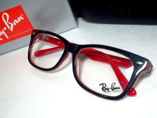 df481cdb8ab7b Armação Oculos Grau Rb5228 Wayfarer Preto E Vermelho Ray Ban - R  97,00