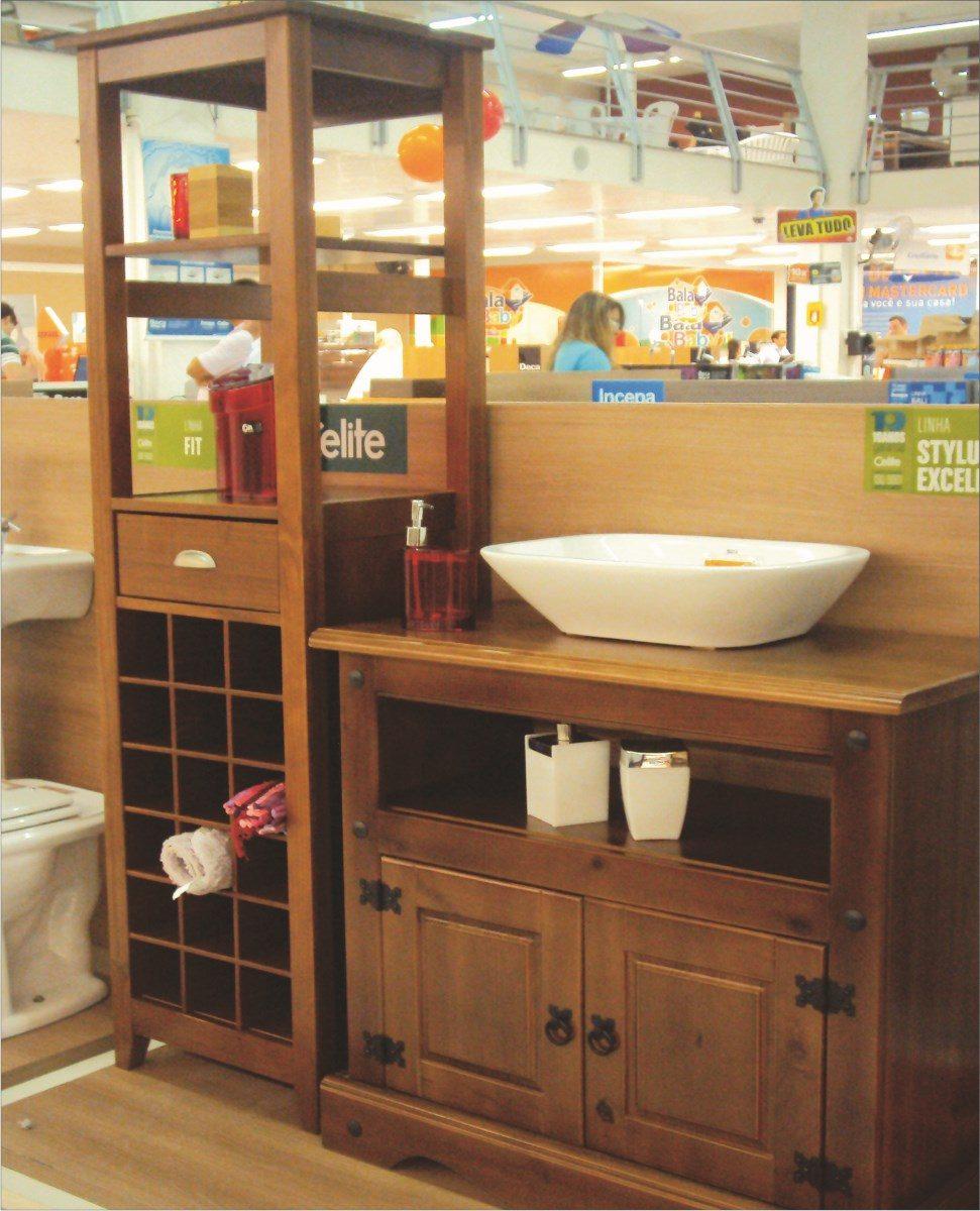 Armario Banheiro; Banheiro;moveis Para Banheiro;madeira  R$ 370,00 no Mercad -> Armario Para Banheiro Telhanorte