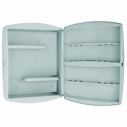 Armário Espelho Para Banheiro Cor Branco Em Abs Metasul  R$ 63,39 no Mercado -> Armario De Banheiro Branco Com Espelho