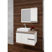 Balcão Para Banheiro Versatil 80cm Branco E Atacama