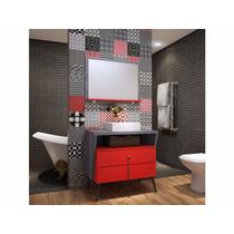 Balcão Retrô Vermelho Corinto 80 X 82cm Com Cuba E Espelho