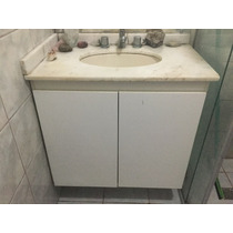 Armário Para Banheiro Com Pia Em Mármore Branco