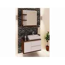 Balcão Para Banheiro Rovere 80x50cm Com Cuba E Espelho