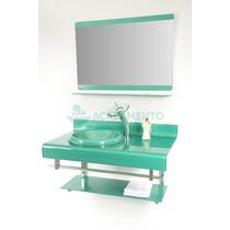 Gabinete De Vidro 90 Cm Banheiro Verde