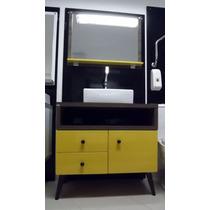 Balcão Retrô Mileto 80x82cm C/ Cuba E Espelho Amarelo