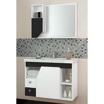 Conjunto Para Banheiro Girassol 80 - Branco & Preto - Cozima