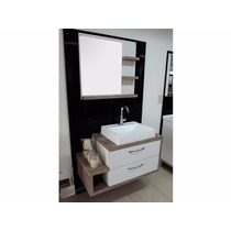 Balcão Para Banheiro Toquio 90x46cm Com Cuba E Espelho