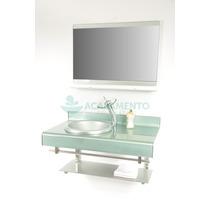 Gabinete De Vidro 90 Cm Banheiro Prata