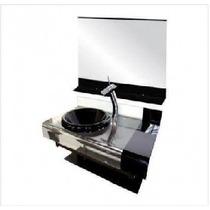 Gabinete Vidro Estilo Chopin Preto 70cm + Misturador