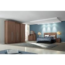 Dormitório Casal 4 Pçs Linha Bliz Henn Com Roupeiro 6 Portas