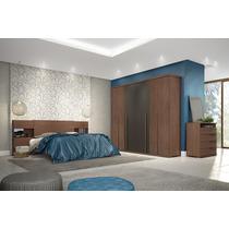 Dormitório Casal 3 Pçs Linha Gold Henn Roupeiro 6 Portas
