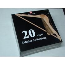 Kit Com 20 Cabides De Madeira. Produto Importado.