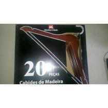 Kit Com 20 Cabides De Madeira - Import