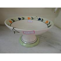 #7186# Fruteira Porcelana Decorada Verde Clara!!!