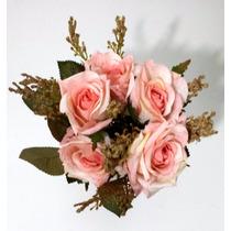 10 Flores Artificiais Para Arranjos Decoração De Festas Rosa