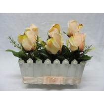 Arranjo De Flores Rosas Salmão Artificiais