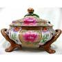 Sopeira Flor De Lotus C/ Pé Em Porcelana Chinesa Pintado Mão