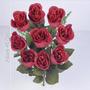 Buquê C/9 Botões De Rosas Vermelho Mic Outo 45 Cm (29352008)