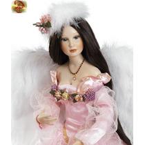 Promoção Anjo Do Amor Boneca Porcelana Luxuosa C/ Luz Import