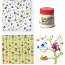 Kit C/ 15 Guardanapos Decoupage Floral + Cola 120gr