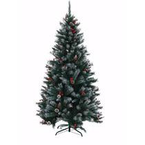 Árvore De Natal Enfeitada C/ Pinhas E Cerejas- Pinheiro 1,5m